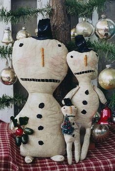 Snowman Doll Pattern Primitive Christmas Snowmen by hicketypickety, $5.00