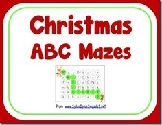 Christmas Alphabet Mazes {free} from @{1plus1plus1} Carisa