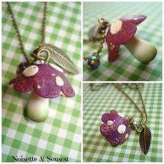 Sautoir Champignon violet feuille et perle : Collier par noisette-sousou