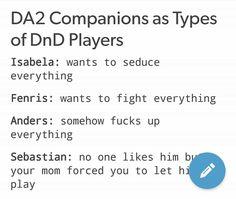 DA2 meets D&D. 1/2 << Totes accurate. Poor Hawke. XD
