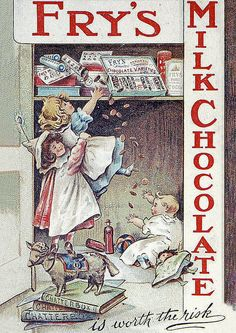 A vintage colour postcard advertising Fry's milk chocolate showing three children trying to reach chocolate on a high shelf with the slogan 'is worth the risk', circa Get premium, high resolution news photos at Getty Images Vintage Labels, Vintage Ephemera, Vintage Cards, Vintage Postcards, Vintage Images, Vintage Advertising Posters, Old Advertisements, Advertising Signs, Retro Poster