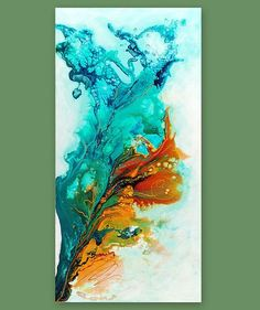 Abstract Art, Giclee Print on Canvas from original painting by Julia Bars. Burnt Orange, Rust, Gold (golden yellow, not a real gold paint),
