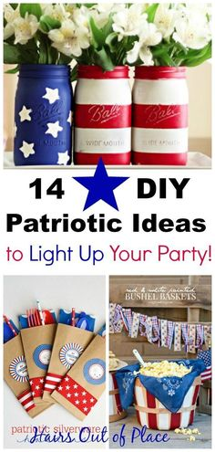14 DIY Fourth of July decorations that'll light up your party! These easy DIY red white and blue crafts are the perfect and quick way to decorate for both your Memorial Day Weekend party ideas AND your Fourth of July Party ideas! Fourth Of July Decor, 4th Of July Decorations, 4th Of July Party, July 4th, Usa Party, Blue Crafts, Diy Crafts, Party Crafts, Memorial Day