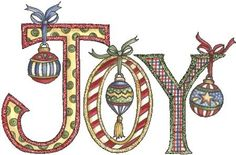"""Image---""""joy"""" with ornaments hanging"""
