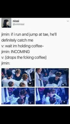 Vmin<= this is basically how precious their relationship is Taehyung would drop whatever he's holding just for Jimin. Jimin, Bts Namjoon, Bts Vmin, Taehyung, Seokjin, Hoseok, Agust D, Yoonmin, Jikook
