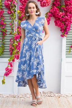 5cfad3cc7718 Florence Blue Island Wrap Dress