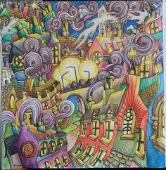 """The Magical City coloring book, """"chimneys & rooftops"""" page. Colored by Dayna Brown using inktense pencils activated with a waterbrush. Inktense pencils are fun in this coloring book!"""