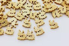 10 Snail Sew Through Wooden Button Wood by boysenberryaccessory