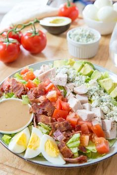 This California Cobb Salad is the perfect hearty and healthy lunch, thanks to a great combination of ingredients. It has crispy bacon, salty blue cheese crumbles, creamy avocado, and a simple dressing to tie it all together.  via @fifteenspatulas
