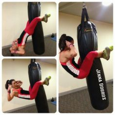 Punching Bag Crunches = FUN!