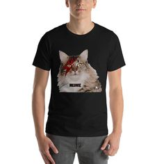 Bowie Cat Short-Sleeve Unisex T-Shirt Bowie, Fabric Weights, Unisex, Hoodies, Cats, Sleeve, Cotton, Mens Tops, T Shirt
