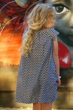 Girls Peasant Dress . Tunic . Black and White Chevron.