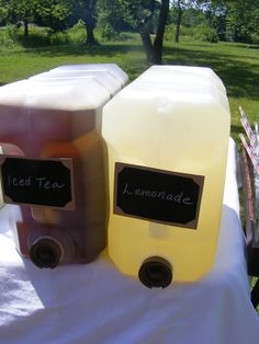 We bought 10 litre jugs of water and mixed up the iced tea and fresh squeezed lemonade directly in them to make for a simple bug free way to serve drinks.