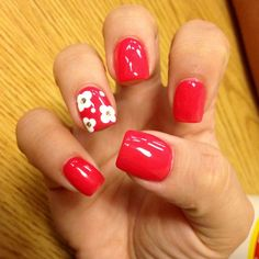 Gel Nail Polish Designs Best Of Watermelon Gel Nail Polish with White Flower Design and Red Gel Nails, Red Toenails, Red Nail Polish, Gel Nail Colors, Nail Nail, Gold Polish, Toe Nails, Acrylic Nails, Red Nail Designs