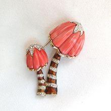 Hattie Carnegie coral lucite and rhinestone mushrooms brooch