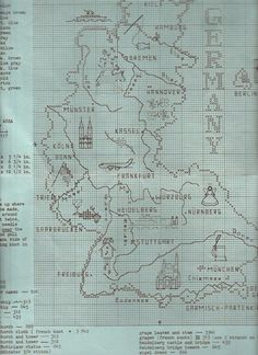 Map of Germany Counted Cross Stitch Pattern Original Brenda Lavender #doesnotapply #Sampler