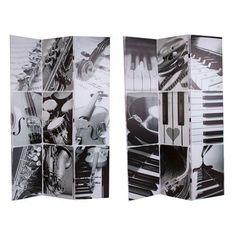 Biombo bifacial instrumentos en blanco y negro de Estilo Contemporáneo