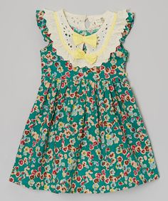 This Green Floral Bow-Collar Dress - Toddler & Girls by Little Anmy is perfect! #zulilyfinds
