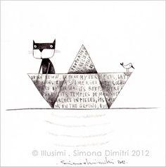 A sudden thought - cat in a paper boat > Simona Dimitri