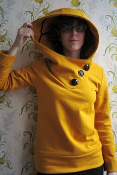 Fall Hoodie Sewing Pattern - love the big hood and buttons!