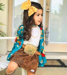 Little Girl Outfits, Toddler Girl Outfits, Toddler Fashion, Kids Outfits, Kids Fashion, Toddler Cowgirl Outfit, Baby Outfits, Korean Fashion, Western Baby Girls