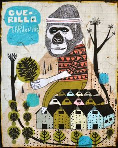 Guerrilla Gardening  mixed media print on wood by retrowhale, $36.00