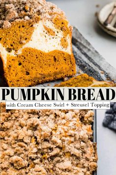 This Pumpkin Bread with Cream Cheese Filling is here to make all you pumpkin lovers extremely happy. It's moist, and not overly sweet, with the most decadent cream cheese swirl running through it.// recipe moist // with cream cheese // with streusel topping // recipe easy Healthy Cheesecake, Healthy Cake, Healthy Cookies, Low Fat Desserts, Fall Desserts, Apple Dessert Recipes, Pumpkin Recipes, Vegetarian Snacks, Streusel Topping