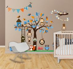 Wall Decals Nursery - Nursery Wall Decal - Tree Decal - Baby Boy Blue Tree with Forest Friends
