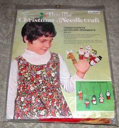 "Vintage Bucilla ""Finger Puppets"" Jeweled Felt Christmas Ornament Kit  #Bucilla"