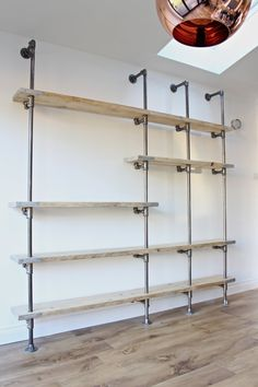 Bespoke Listing For Linda - Scaffolding Boards And Dark Steel Pipe Wall Mounted…