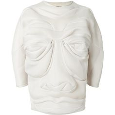 Henrik Vibskov face resembling jumper (1,023 CAD) ❤ liked on Polyvore featuring tops, sweaters, white long sleeve top, extra long sleeve sweater, loose sweaters, cream long sleeve top and white top
