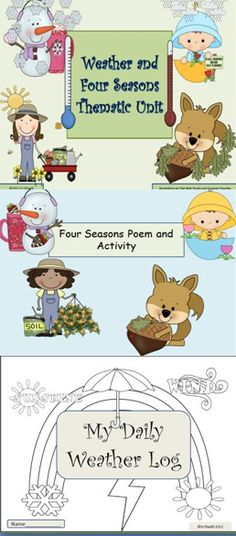 This unit is designed for early primary students and ELL newcomers. It is filled with activities and printables that develop the unit's concepts and vocabulary. Enjoy teaching your young students about weather and seasons while developing their ability to compare and contrast, create patterns, make observations, write and much more.