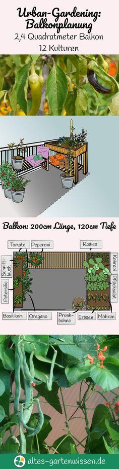 Ein auch noch so kleiner Balkon kann in eine Oase verwandelt werden, zum Entspannen und zum Anbau von etwas eigenem Gemüse. Dabei reichen schon 2,4 Quadratmeter aus um beispielsweise 12 verschiedene Kulturen anzubauen.