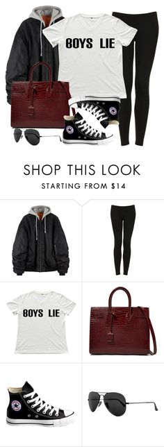 """Sin título #11991"" by vany-alvarado ❤ liked on Polyvore featuring Topshop, Yves Saint Laurent, Converse and Ray-Ban"