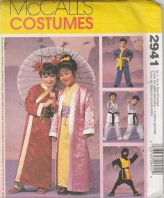 mccalls costumes 2941 sizes childrens boys and girls geisha karate ninja costumes sewing pattern 2000 uncut by ladybugsandscorpions on etsy - Childrens Halloween Costume Patterns