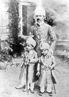 The Nizam of Hyderabad (Nawab Azam Jah) and sons. Nawab Azam Jah married Princess Dürrühsehvar, daughter of the Ottoman Caliph Abdülmecid II.