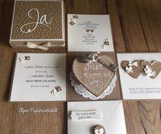 """Verschenke eine Explosionsbox zur Hochzeit, gestaltet mit ganz viel Liebe.... in der Größe 10x10 cm Hochzeitsbox """"Just Married"""" für alle die es gerne natürlich mögen - Creme trifft Natur /..."""