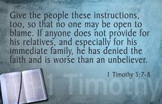 So-called Christian Deadbeat dads and their families; try this verse on for size.