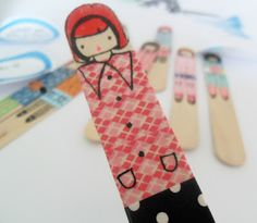 popsicle dolls made w/ washi tape from the source . . .