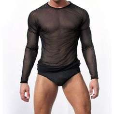 T shirt Men Sexy Transparent Sheer See Through Mesh Long Sleeve T shirt Tops Undershirt Fitness Slim Casual Solid Black/White-in T-Shirts from Men's Clothing & Accessories on Aliexpress.com | Alibaba Group
