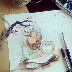 44 Ideas for cats drawing cartoon sketch Hijab Drawing, Cat Drawing, Watercolor Drawing, Cartoon Kunst, Cartoon Art, Muslim Pictures, Islamic Cartoon, Anime Muslim, Hijab Cartoon