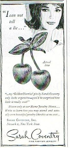 """Ladies Home Journal February 1965  Sarah Coventry """"Golden Cherries"""" brooch"""