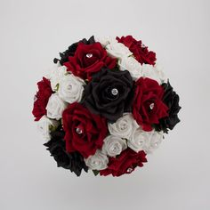 red, white, and black bouquet ~ Image detail for -Black, Red and White Bridal Posy Black Bouquet, White Wedding Bouquets, Wedding Flower Arrangements, Flower Bouquet Wedding, Wedding Centerpieces, Wedding Decorations, Black Red Wedding, Red And White Weddings, Our Wedding
