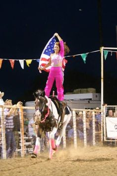 Leah Self trick riding on Roxie. Cowgirl, fitness, trick rider, strong, horses