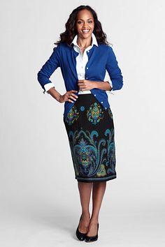 Women's Border Print Skirt from Lands' End