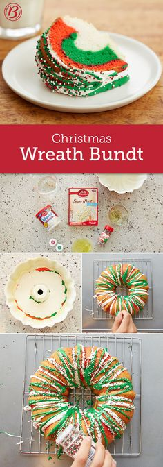 A welcome addition to any holiday table, our delicious Rainbow Christmas Wreath is made from Betty Crocker SuperMoist white cake, fluffy white frosting, sprinkles and food coloring. Impressive to look at, but a cinch to make!