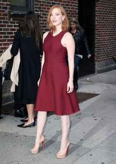 Jessica Chastain Photos - The Cast of 'Crimson Peak' Appears on 'The Late Show With Stephen Colbert' - Zimbio Jessica Chastain, Celebrity Photos, Celebrity Style, Revealing Dresses, Mia Wasikowska, Black And Blonde, Mary Elizabeth Winstead, Stephen Colbert, Rachel Weisz