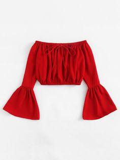 7f7402dfae Red Off Shoulder Tie Front Fluted Sleeve Elastic Waistline Crop Top