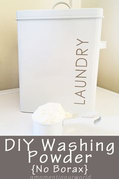 This washing powder is easy to make and contains all natural ingredients: bicarb soda, sunlight soap, washing soda and essential oils. And no borax.