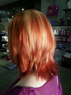 Red copper with blonde highlights